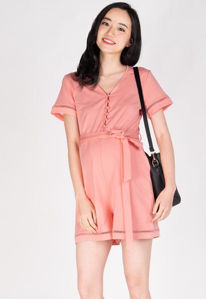 Shreya Comfy Nursing Romper in Pink