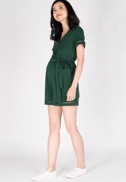 Shreya Comfy Nursing Romper in Green