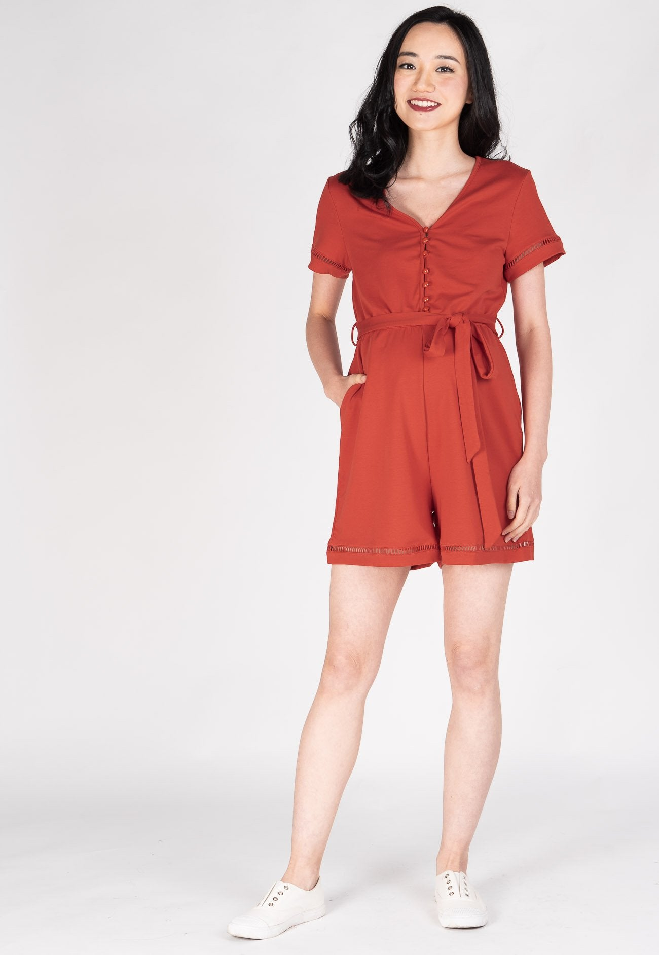 Shreya Comfy Nursing Romper in Red Orange Nursing Wear Mothercot