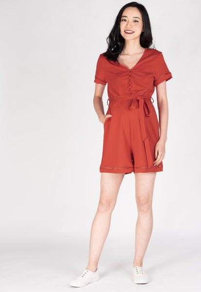 Shreya Comfy Nursing Romper in Red Orange