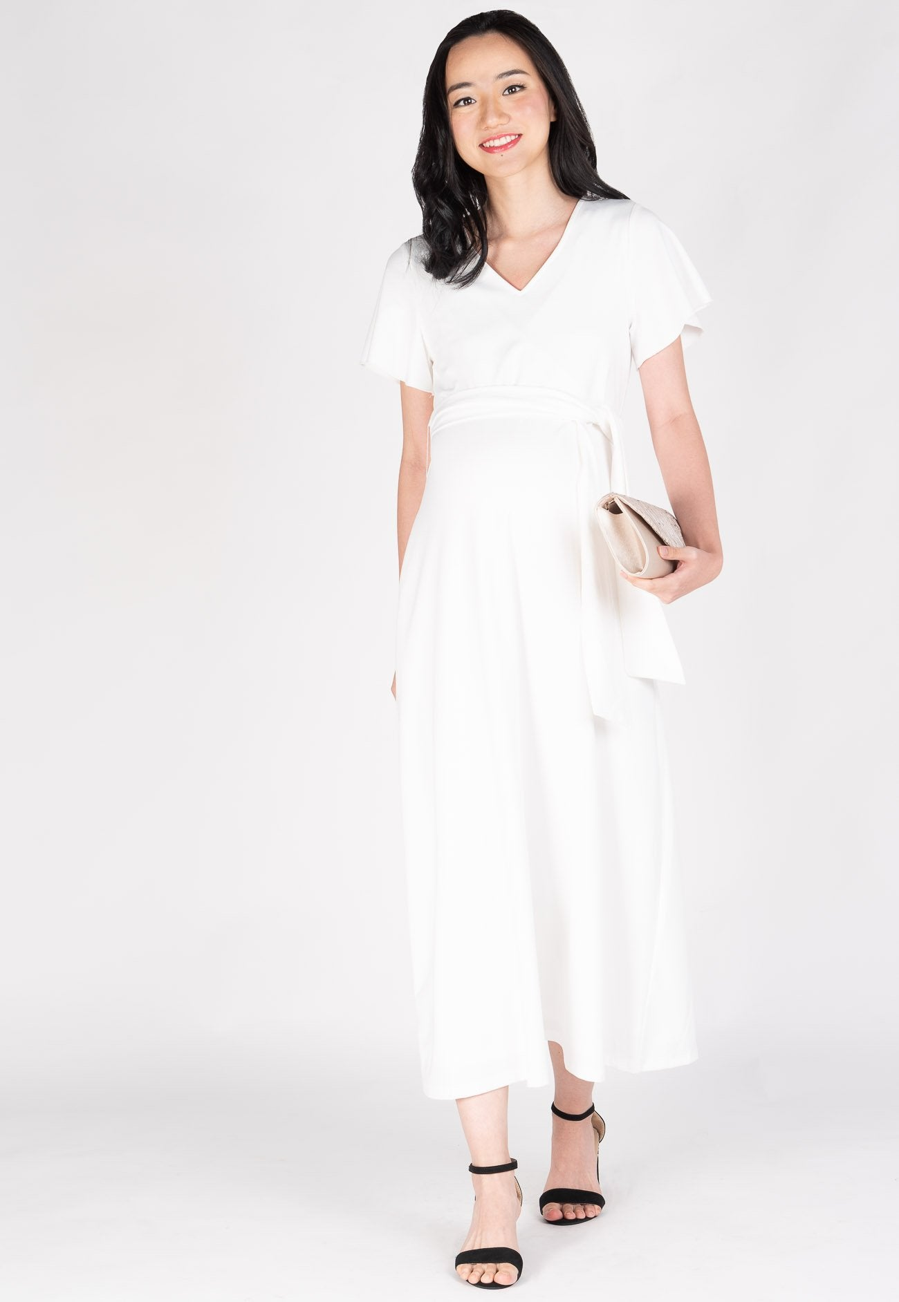 Amrita Nursing Dress in White  by Jump Eat Cry - Maternity and nursing wear