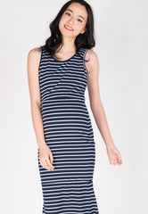Bring Me Out Nursing Dress in Navy  by Jump Eat Cry - Maternity and nursing wear