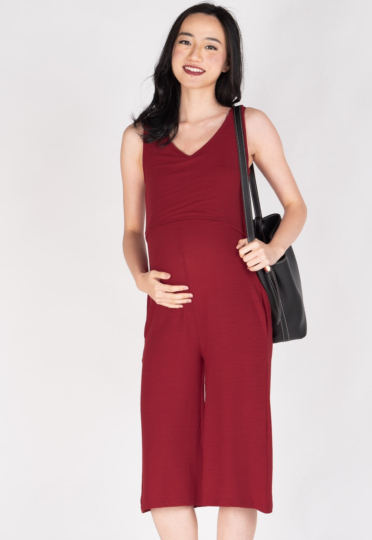 Carefree V Neck Nursing Jumpsuit in Red  by Jump Eat Cry - Maternity and nursing wear