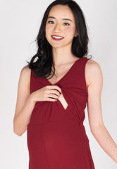 Carefree V Neck Nursing Jumpsuit in Red  by JumpEatCry - Maternity and nursing wear