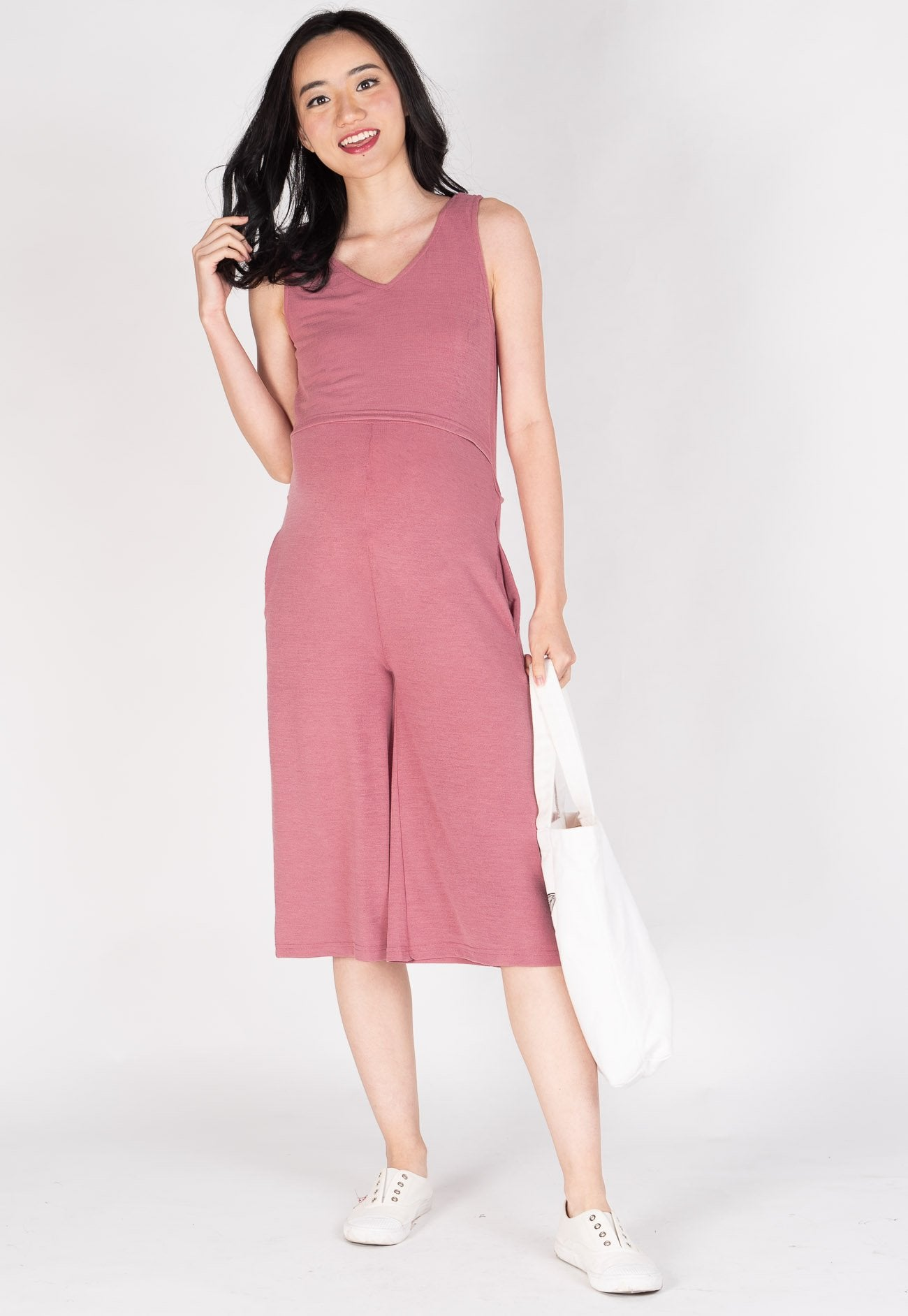 30b588693d65ba Carefree V Neck Nursing Jumpsuit in Pink by JumpEatCry - Maternity and  nursing wear