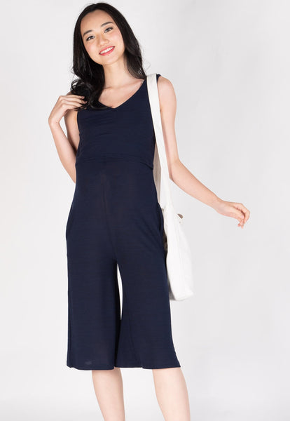 Carefree V Neck Nursing Jumpsuit in Navy