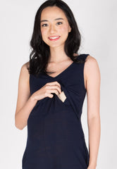 Carefree V Neck Nursing Jumpsuit in Navy  by Jump Eat Cry - Maternity and nursing wear