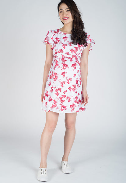 SALE Butterfly Sleeves Floral Nursing Dress