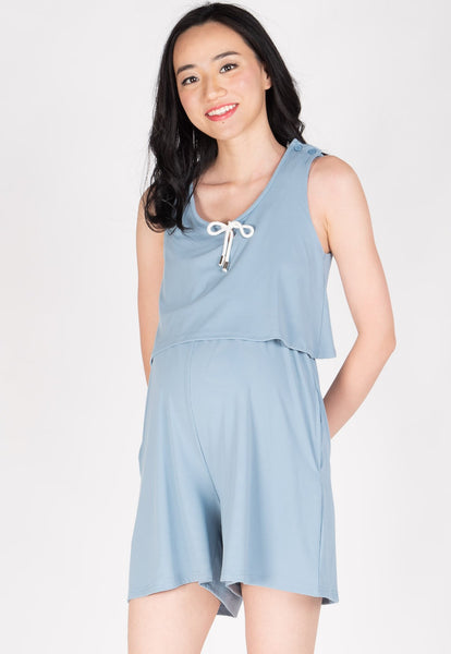 Be Here Now Nursing Romper in Light Blue