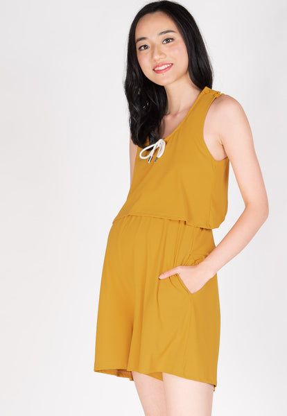 Be Here Now Nursing Romper in Yellow