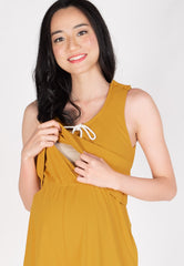 Be Here Now Nursing Romper in Yellow  by Jump Eat Cry - Maternity and nursing wear