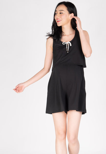 Be Here Now Nursing Romper in Black