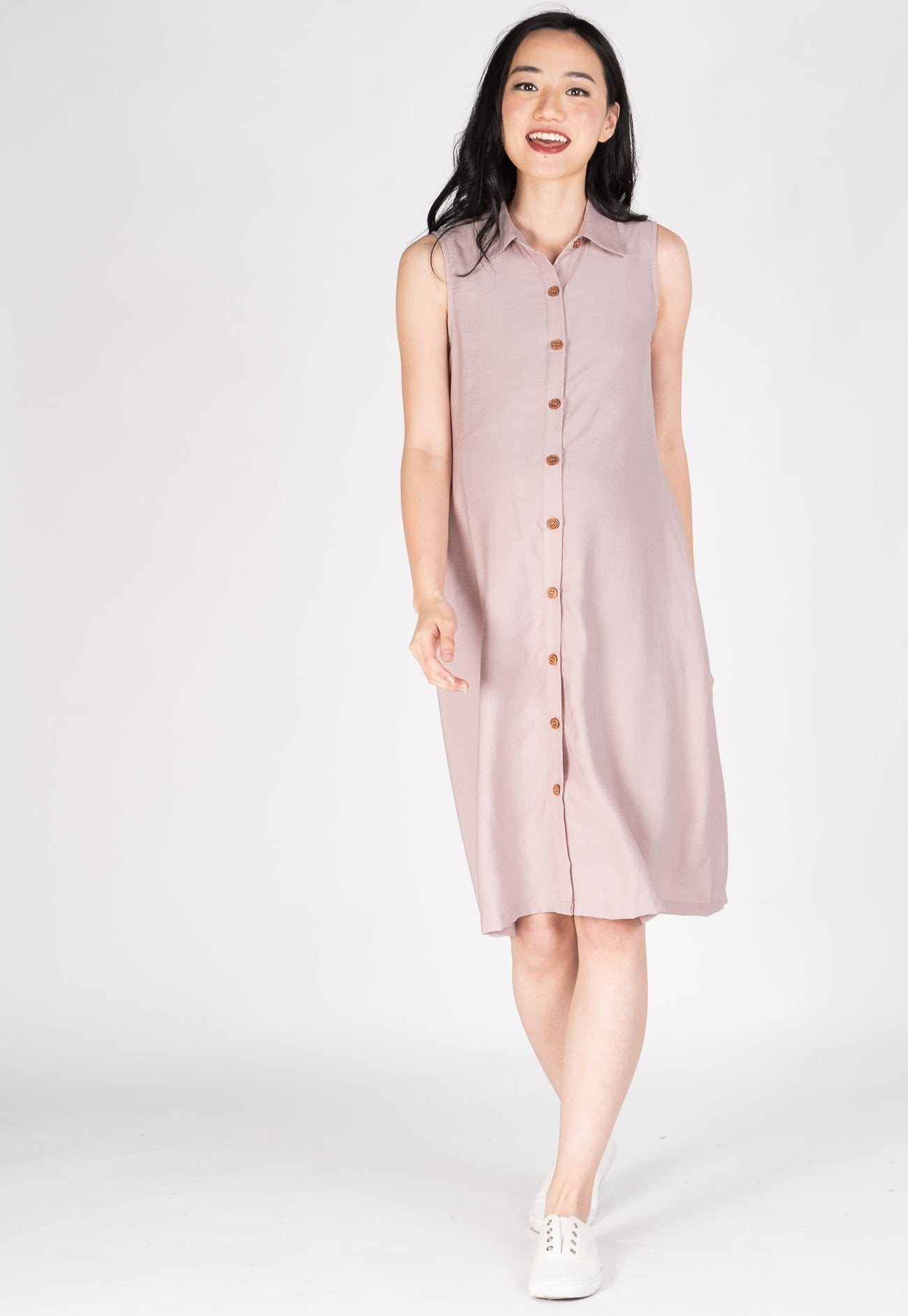 Joyfully Yours Nursing Midi Dress in Pink Nursing Wear Mothercot