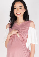 Naila Cutout Nursing Dress in Pink  by Jump Eat Cry - Maternity and nursing wear