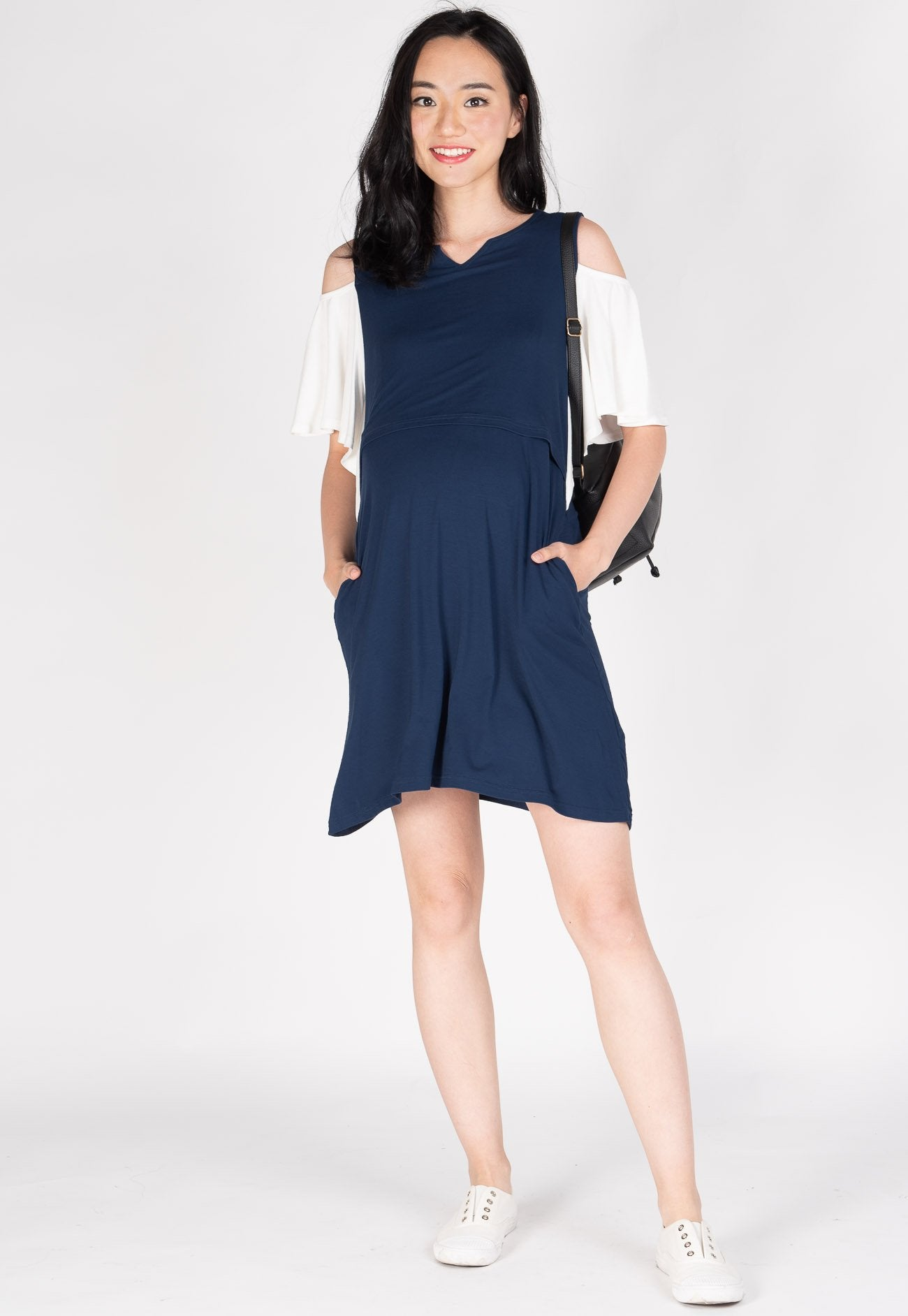 Naila Cutout Nursing Dress in Navy  by Jump Eat Cry - Maternity and nursing wear