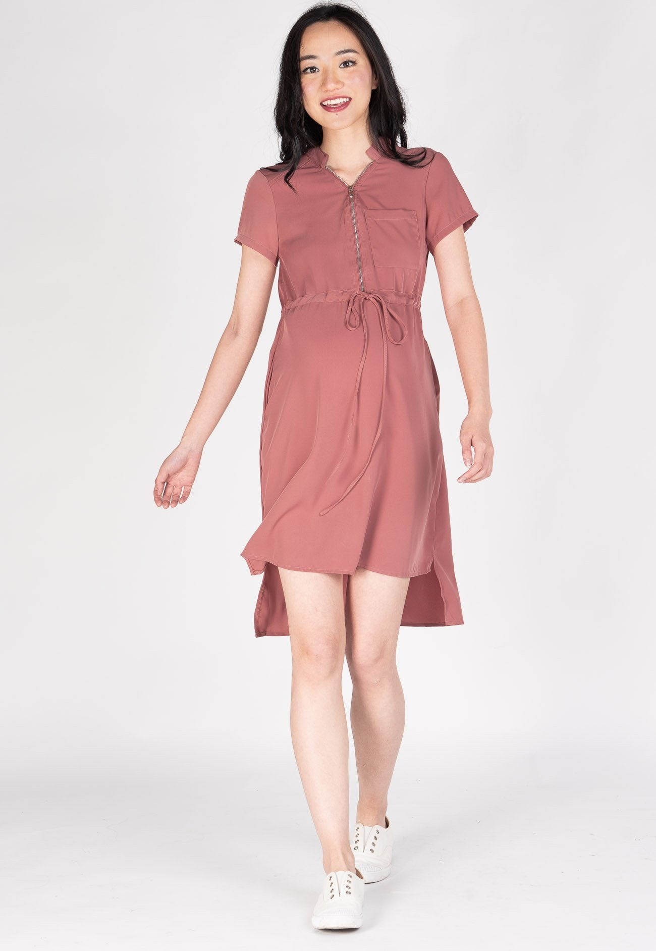 Love And Laughter Nursing Dress in Pink  by Jump Eat Cry - Maternity and nursing wear