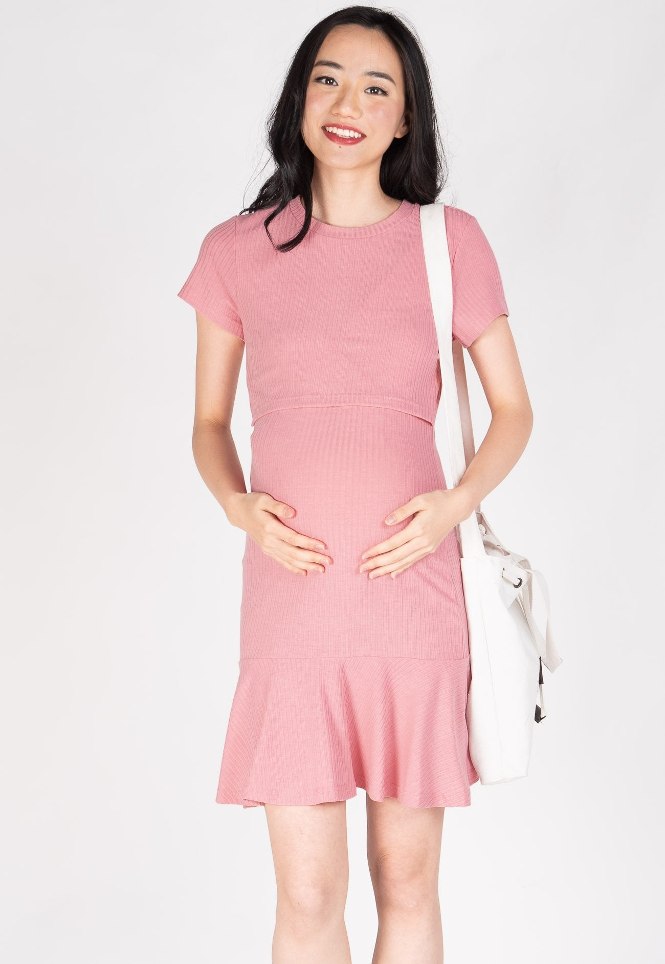 Harper Peplum Nursing Dress in Pink  by Jump Eat Cry - Maternity and nursing wear