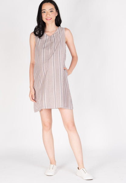 Ambar Rainbow Stripes Nursing Dress in Light Pink