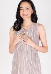 Ambar Rainbow Stripes Nursing Dress in Light Pink  by Jump Eat Cry - Maternity and nursing wear