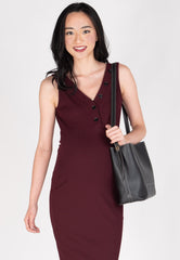 Tove Ribbed Knitted Nursing Dress in Red Nursing Wear Mothercot