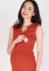 Belva Chain Nursing Dress in Orange  by Jump Eat Cry - Maternity and nursing wear