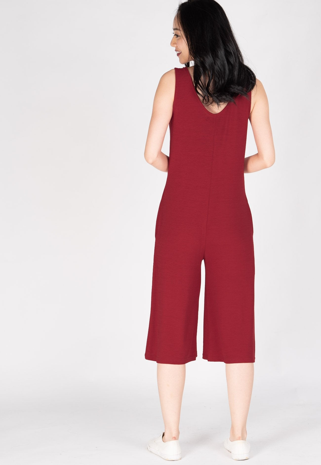5c40a74deb24c1 ... Carefree V Neck Nursing Jumpsuit in Red by JumpEatCry - Maternity and  nursing wear