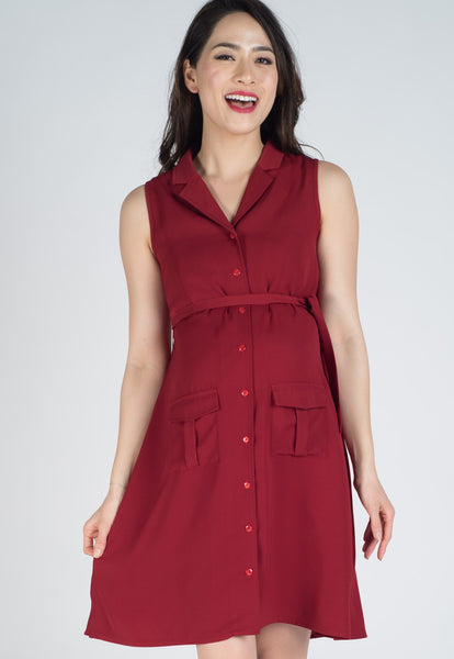 Dark Red Sleeveless Button Down Nursing Dress