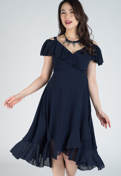 Cold Shoulder Frills Nursing Wrap Dress