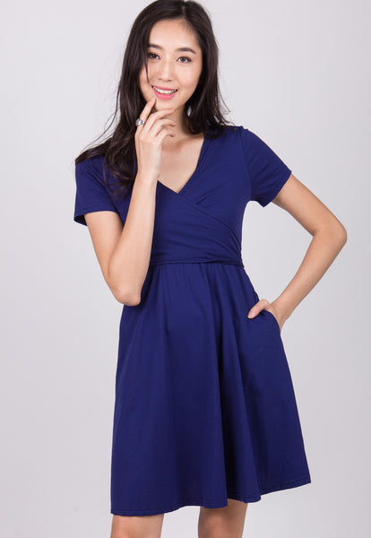 Dark Blue Nursing Wrap Dress
