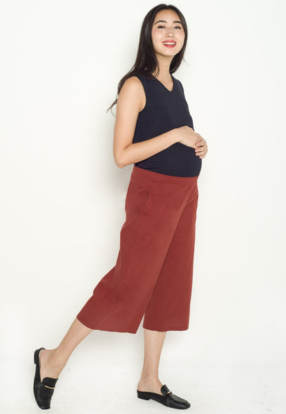Avery Maternity Culottes in Rust