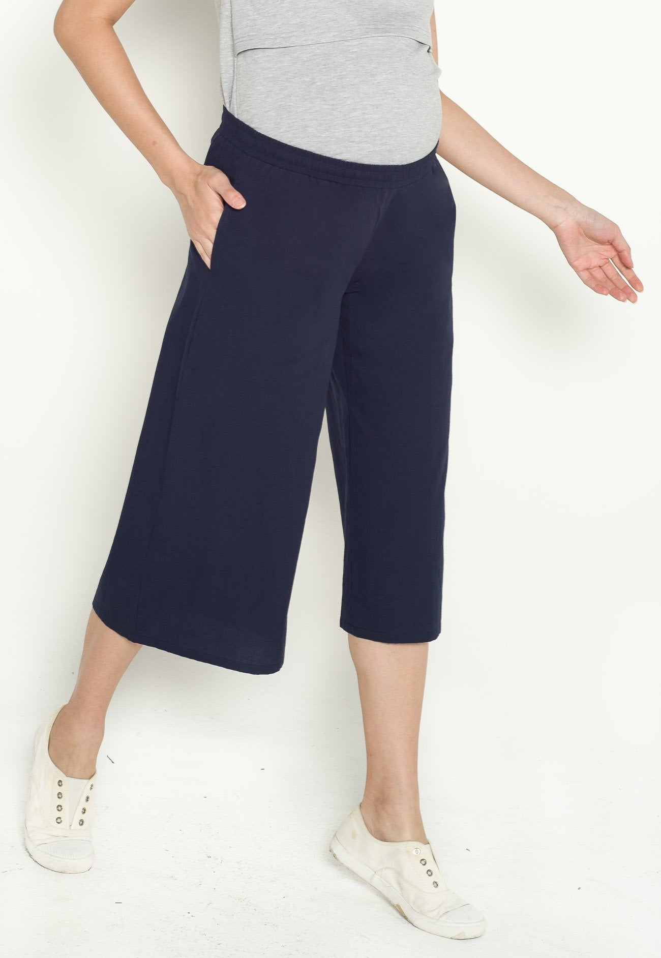Avery Maternity Culottes in Navy  by Jump Eat Cry - Maternity and nursing wear