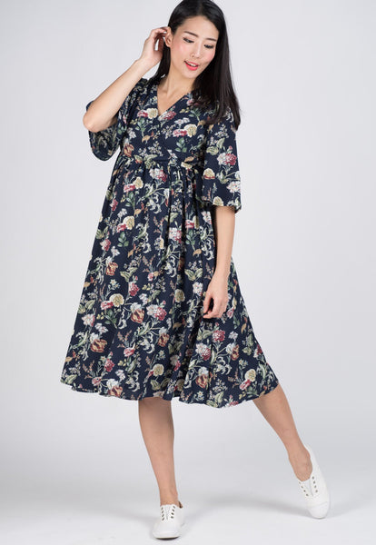 SALE Sleeves Floral Nursing Dress