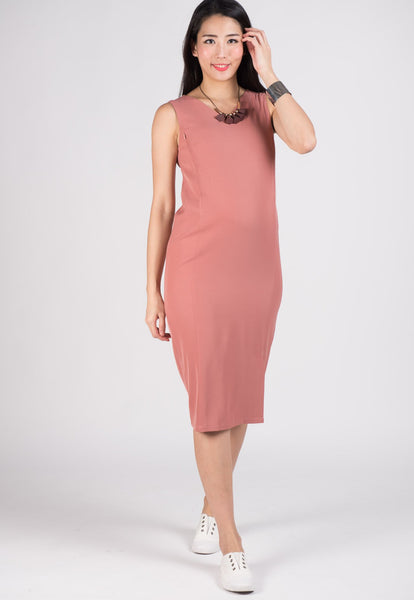 Pink Aria Slit Midi Nursing Dress