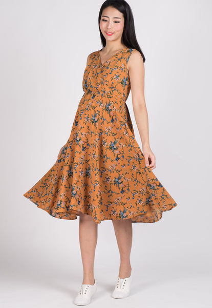 SALE Drape Floral Midi Dress