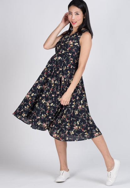 SALE Navy Drape Floral Midi Dress