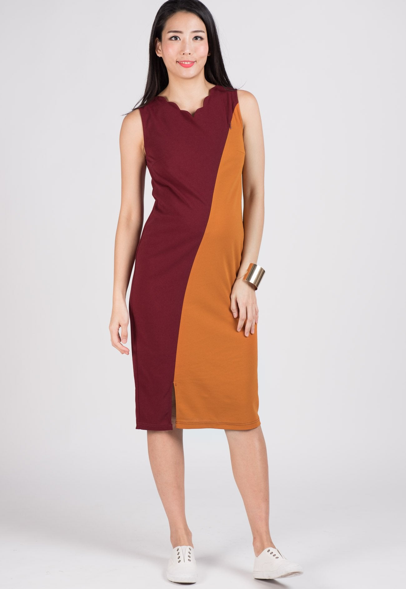 SALE Red Maddie Scallop Midi Nursing Dress  by Jump Eat Cry - Maternity and nursing wear