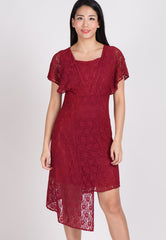SALE Red Lace Hi Low Hem Nursing Dress  by Jump Eat Cry - Maternity and nursing wear