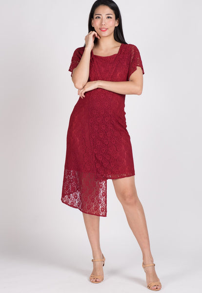 SALE Red Lace Hi Low Hem Nursing Dress