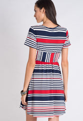 Mothercot Striped Nursing Dress  - Maternity and nursing wear