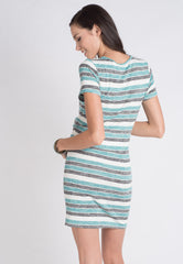 Stripes Knitted Nursing Dress in Green  by Jump Eat Cry - Maternity and nursing wear