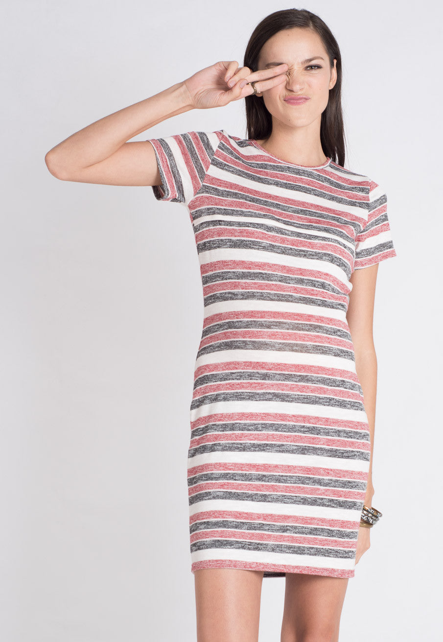 Red Stripes Knitted Nursing Dress  by Jump Eat Cry - Maternity and nursing wear