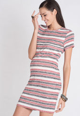 Stripes Knitted Nursing Dress in Red  by Jump Eat Cry - Maternity and nursing wear