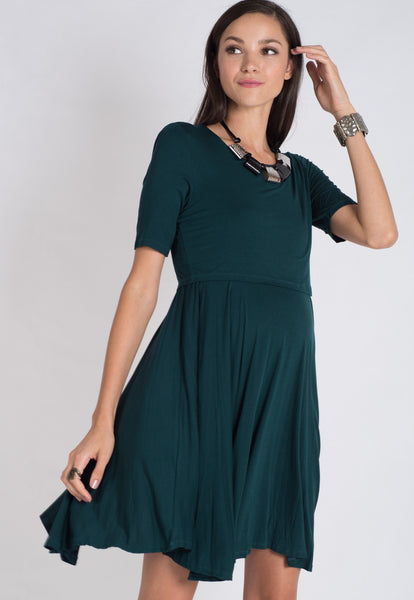 Forest Zann Pleats Nursing Dress