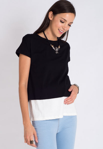 Black 2 Tone Layered Nursing Top