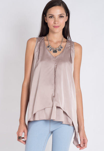 Silver Satin Nursing Top