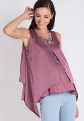 Mothercot Purple Satin Nursing Top  by JumpEatCry - Maternity and nursing wear