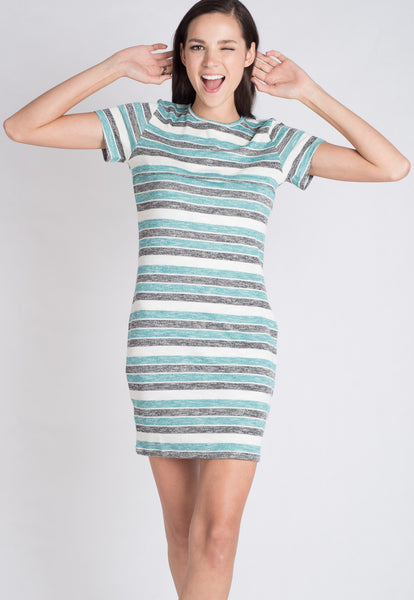 Stripes Knitted Nursing Dress in Green