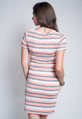 Stripes Knitted Nursing Dress in Salmon Pink  by Jump Eat Cry - Maternity and nursing wear