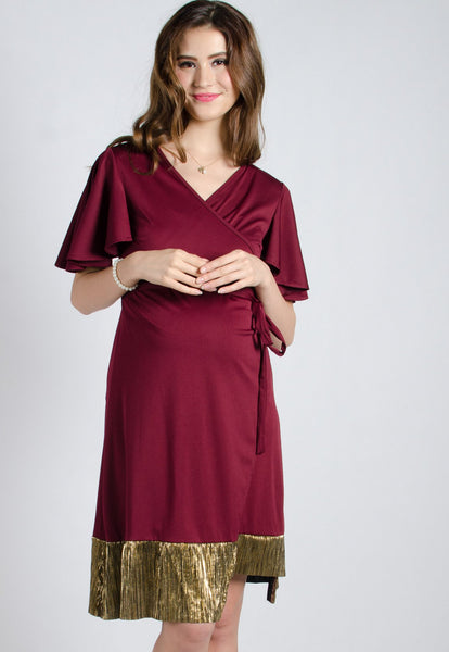 Wine Mermaid Pleated Nursing Wrap Dress