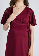 SALE Wine Mermaid Pleated Nursing Wrap Dress Nursing Wear Mothercot